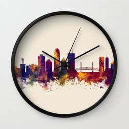 Jacksonville Florida Skyline Wall Clock