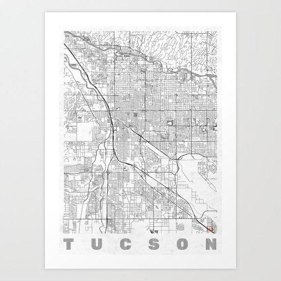 Tucson Map Line Art Print