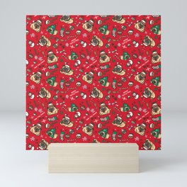 Christmas pattern with pugs Mini Art Print