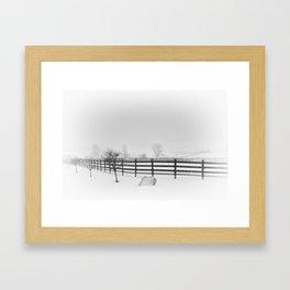 Horse Farm in Winter Storm,  Canandaigua 2014 Framed Art Print