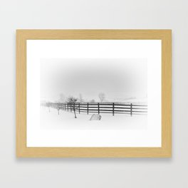 Horse Farm in Winter Storm,  Canandaigua 2014 Framed Art Print