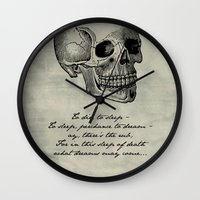hamlet Wall Clocks featuring Hamlet - Shakespeare by pithyPENNY
