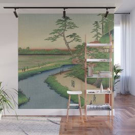 Spring Trees on Aqueduct Ukiyo-e Japanese Art Wall Mural
