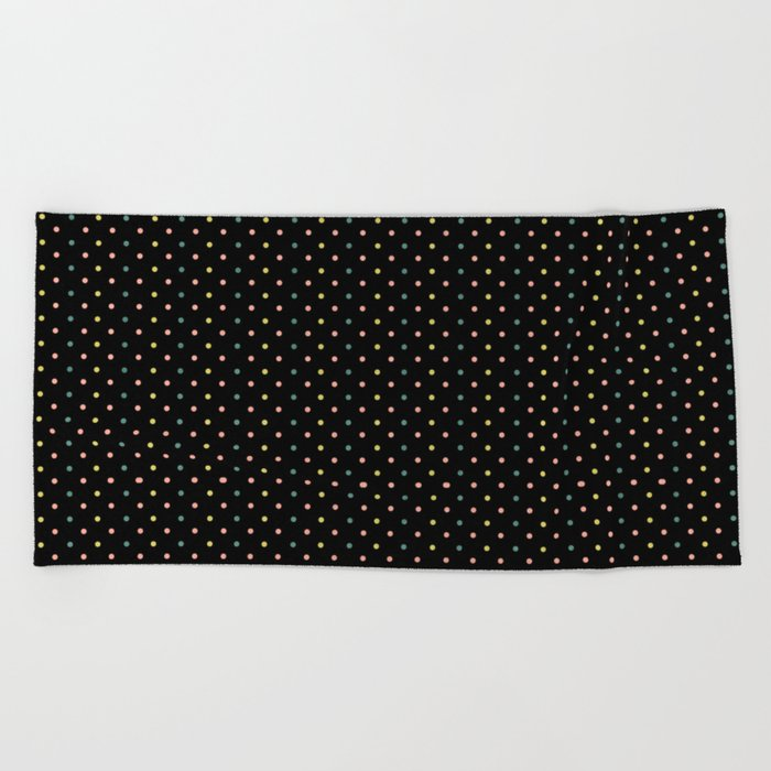 Small dots on black Beach Towel
