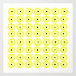 Summer Sunshine Evil Eye Lemon Yellow Art Print