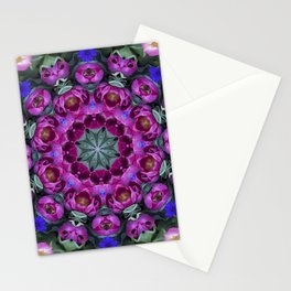 Floral finery - kaleidoscope of blue, plum, rose and green 1650 Stationery Cards