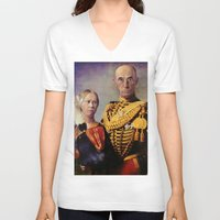 gothic V-neck T-shirts featuring European Gothic by Joe Ganech