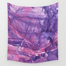 Smokey Ultra Violet and Pink Marble Wall Tapestry