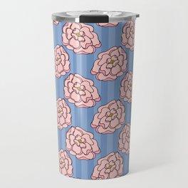 Pink Doodle Florals on a Purple Background Travel Mug