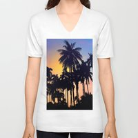 palm tree V-neck T-shirts featuring palm tree by mark ashkenazi