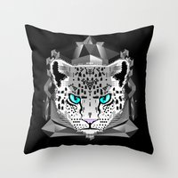 snow leopard Throw Pillows featuring Snow Leopard by chobopop