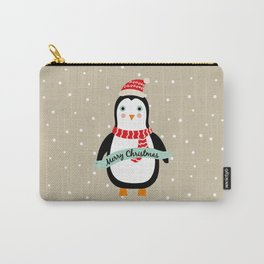 "Cute Penguin wishes ""Merry Christmas"" - X-mas Christmas Winter Design Carry-All Pouch"