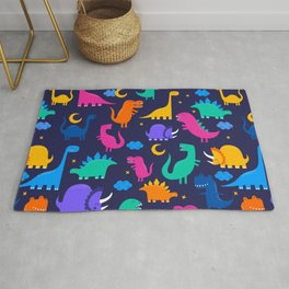 Dinosaurs At Night Rainbow Dinosaur Kids Pattern Rug