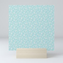 Robin's Egg Aqua Blue Christmas Snow Flakes Mini Art Print