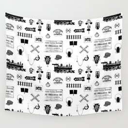 Railroad Symbols on White Wall Tapestry