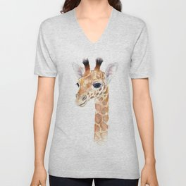 Baby Giraffe Cute Animal Watercolor Unisex V-Neck
