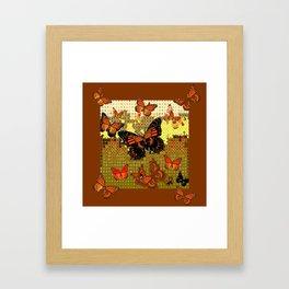Coffee Brown Abstracted Black & Orange Monarch Butterflies Framed Art Print