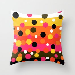Earth and Summer Sky - Color Strips with Circles Throw Pillow