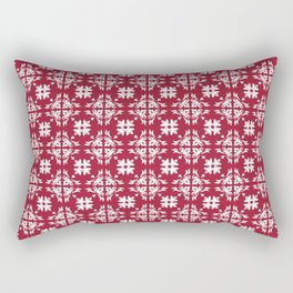 Crimson Red Flourish Flower Pattern Rectangular Pillow