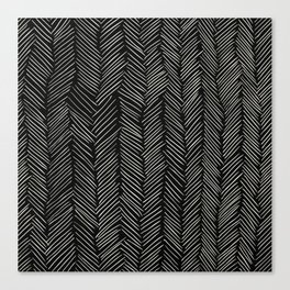 Herringbone Cream on Black Canvas Print