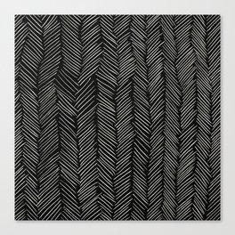 Herringbone Cream on Black Canvas Print