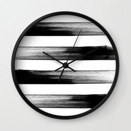 Japanese calligraphy stroke stripe -Zen style, black and white Wall Clock