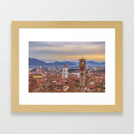 Aerial View Historic Center of Lucca, Italy Framed Art Print