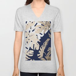 Simply Tropical Nautical Navy Memphis Palm Leaves Unisex V-Neck