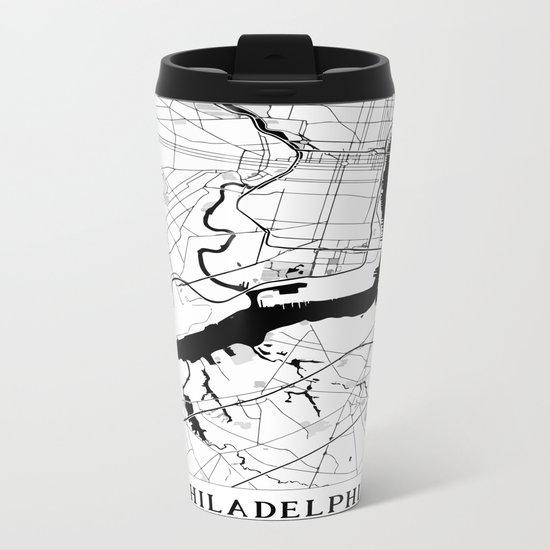 Philadelphia Minimal Map Metal Travel Mug