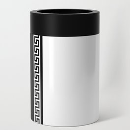 Greek Key 2 - White and Black Can Cooler
