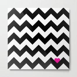 Heart & Chevron - Black/Pink Metal Print