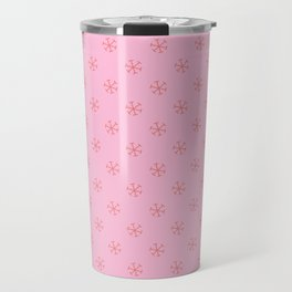 Coral Pink on Cotton Candy Pink Snowflakes Travel Mug