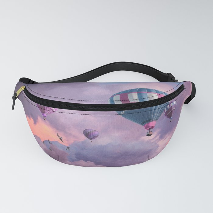 Blue, Pink, and Purple Hot Air Balloons on Pastel Clouds Fanny Pack
