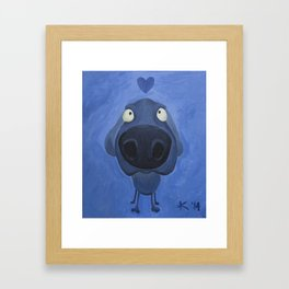 Weimaraner Love - Blue Framed Art Print