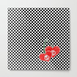 Heart Cherry Skullz Metal Print