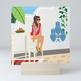 Blue Summer Vacation Girl Mini Art Print
