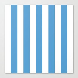 Carolina blue - solid color - white vertical lines pattern Canvas Print