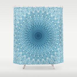 Stroked Quantum Mandala Blue 1 Shower Curtain