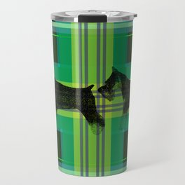 Sniffing Schnauzers in Green Plaid Travel Mug