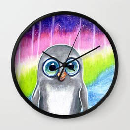 Baby penguin in the southern lights Wall Clock