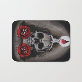 Voodoo Skull and Roses with candle Bath Mat