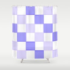 Periwinkle Blue Lavender Checkerboard Shower Curtain