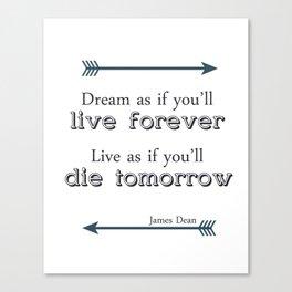 James Dean Quote Wall Art Canvas Print