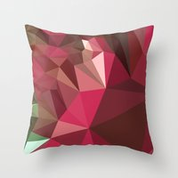 jazzberry blue Throw Pillows featuring Jazzberry Jam Purple Abstract Low Polygon Background by patrimonio