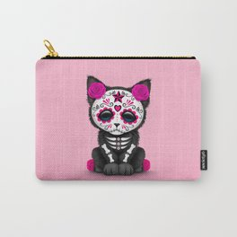Cute Pink Day of the Dead Kitten Cat Carry-All Pouch