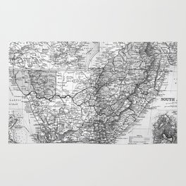 Vintage Map of South Africa (1892) BW Rug