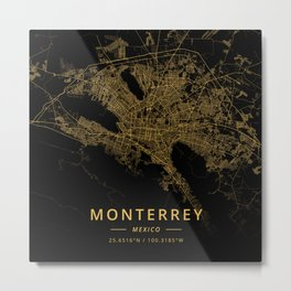 Monterrey, Mexico - Gold Metal Print
