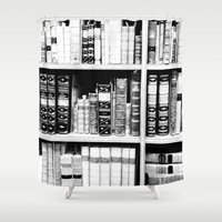 books Shower Curtains featuring Books by RAD WORK (Rebecca Alexandre Designs)