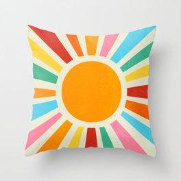 Retro Sunrise: Rainbow Edition Throw Pillow