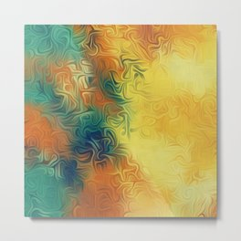 green brown and yellow painting texture abstract background Metal Print